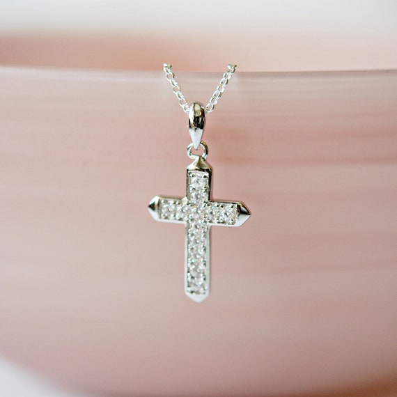 Sterling silver and cubic zirconia cross necklace