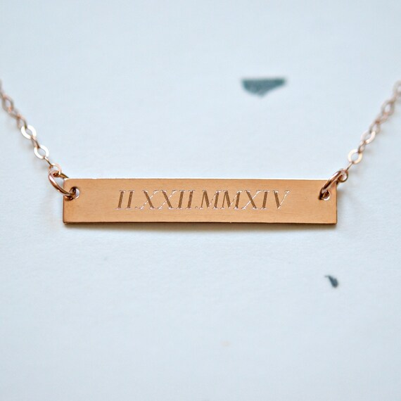 Engraved bar necklace in silver or gold