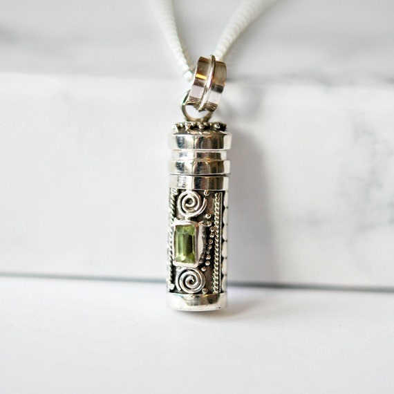 Sterling silver and peridot stash pendant necklace