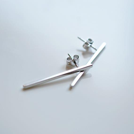 Bar earrings, sterling silver bar stud earrings, geometric studs, minimalist studs, modern silver earrings, simple classic jewelry, long bar