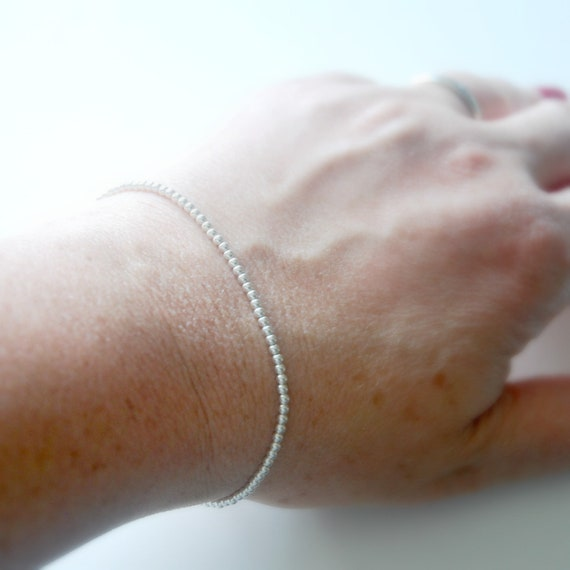Sterling silver tiny ball bracelet