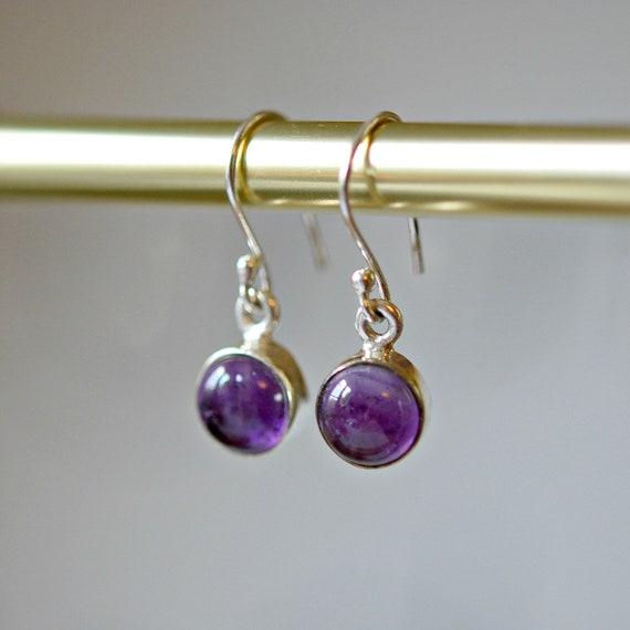 Amethyst earrings, gemstone earrings, sterling silver, round bezel drop earrings, february birthstone earrings, womens earrings