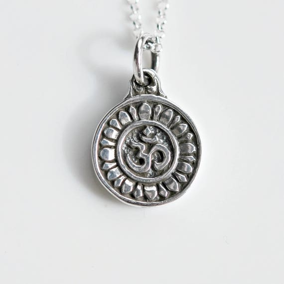 Sterling silver ohm necklace