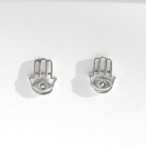 Hamsa studs, sterling silver hamsa hand earrings, evil eye studs, boho jewelry, bohemian earrings, hamsa earrings, greek evil eye earrings