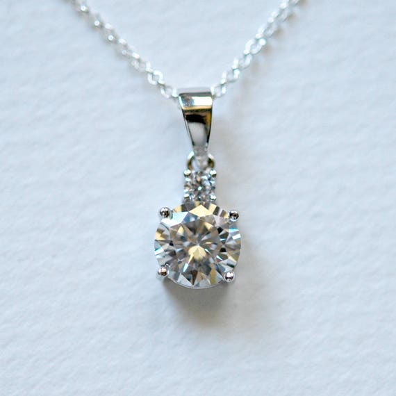 Diamond necklace, sterling silver, wedding, solitaire, april birthstone, cubic zirconia, cz crystal, delicate, dainty, simple jewelry