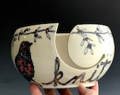 SALE Yarn Bowl Stoneware Handmade Bird Illustration Robin Knitting Bowl 0177