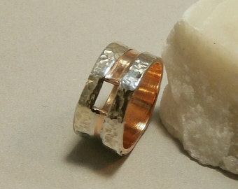 gilding metal ring with fine silver
