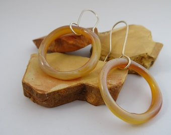 luscious caramel glass loops on sterling silver wire hooks