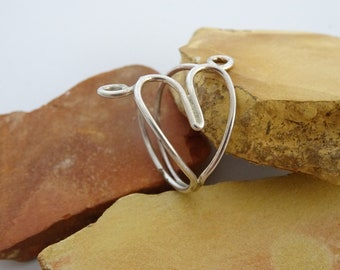 love heart swirl silver wire ring