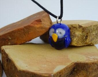 cobalt blue glass mini owl pendant