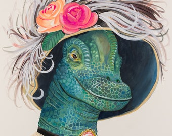 """Art Print- """"Lady Ponsonby""""- old fashioned lady dinosaur with feathered hat and cameo"""