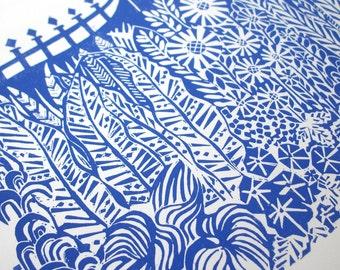 Gated Garden linocut print.