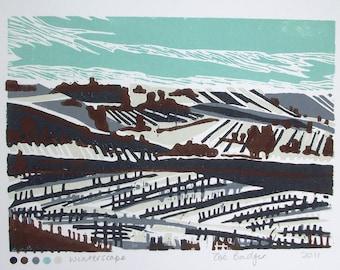Winterscape linocut print.