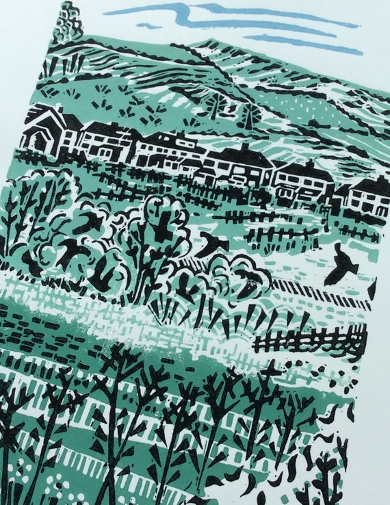 Druck Rand Original Landschaft Linolschnitt Braunen yOw80mvnN