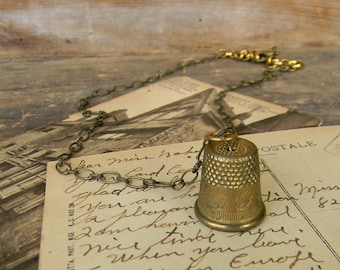 Thimble Necklace, Vintage Sewing Thimble Peter Pan Jewelry, Brass Thinble Pendant, Vintage Asseblage Necklace, Peter Pan Thimble Jewelry