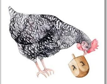 Chicken Hanukkah Card Set | Barred Rock Hen w/Dreidel Funny Cute Chanukkah Greeting Cards | 100% Proceeds to Charity