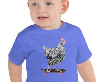 Skateboarding Chicken Toddler T-Shirt Short Sleeve 100% Cotton Tee Barred Rock Hen on Skateboard 2T 3T 4T 5T Boy Girl Shirt Benefits Charity