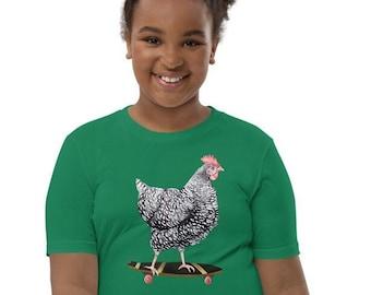 Skateboarding Chicken Kids T-Shirt | Plymouth Barred Rock Hen on Skateboard Tee | Boy Girl Youth Short Sleeve Shirt | Benefits Farm Rescues