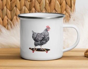 Skateboarding Chicken Enamel Mug Camping Cup right left handed Barred Rock Hen Holiday Gift White cup