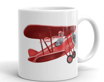 Pilot Aviator Chicken Mug Coffee Tea White Ceramic right left handed cup Barred Rock Hen Flying Vintage Plane Funny Aviation Gift Aircraft