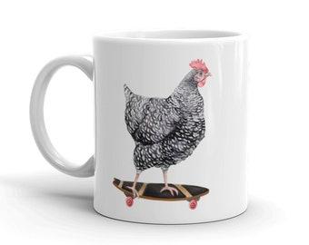 Skateboarding Chicken Mug right left handed lefty Barred Rock Hen on Skateboard Coffee cup White Ceramic dishwasher safe 11 15 oz Gift