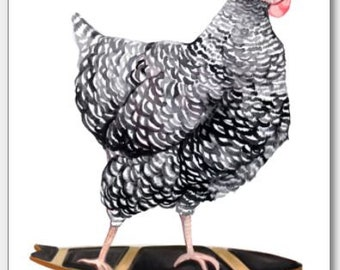 Skateboarding Chicken Blank Card Set | Barred Rock Hen on Skateboard l Funny Cute Greeting Cards for farmer | 100% Proceeds to Charity