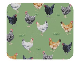 Chicken Mouse Pad Rectangle Shape | Flock Barnyard Chickens in Field Mousepad for Home Office | Cute Desk Accessories, Farmhouse Desk Decor