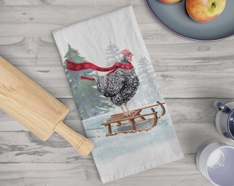 Sledding Chicken Kitchen Towel | Christmas Holiday Tea Towel | White 100% Cotton | Cottage Core Barred Rock Hen | Housewarming Gift