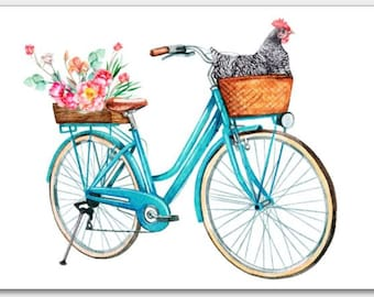 Chicken in Bike Basket w/flowers Blank Note Card Set | Barred Rock Hen on Skateboard l Funny Cute Greeting Cards | 100% Proceeds to Charity