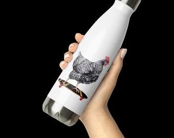 Skateboarding Chicken 17oz Insulated Stainless Steel Leakproof Water Bottle, Screw-top Cap, Double Wall
