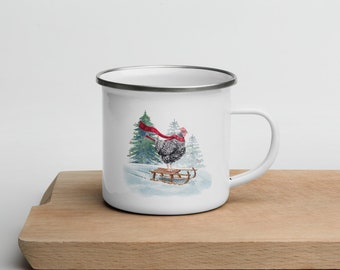 Sledding Chicken Enamel Mug | Camping Cup right left handed Barred Rock Hen Christmas Holiday Gift White Enameled Metal | Cottage Core Gift