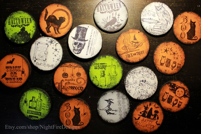 Round Wood Vintage-esque Handstamped Halloween Ornament Cast a Spell