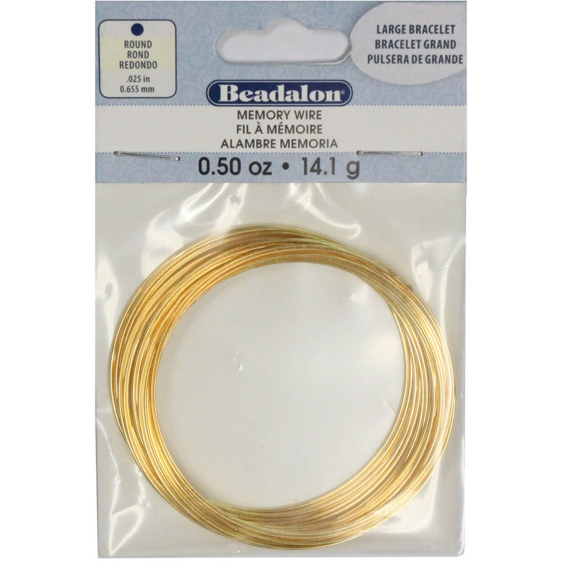 Beadalon package 14 g 0.5 oz approx 30 coils Large Bracelet Memory Wire Gold Color