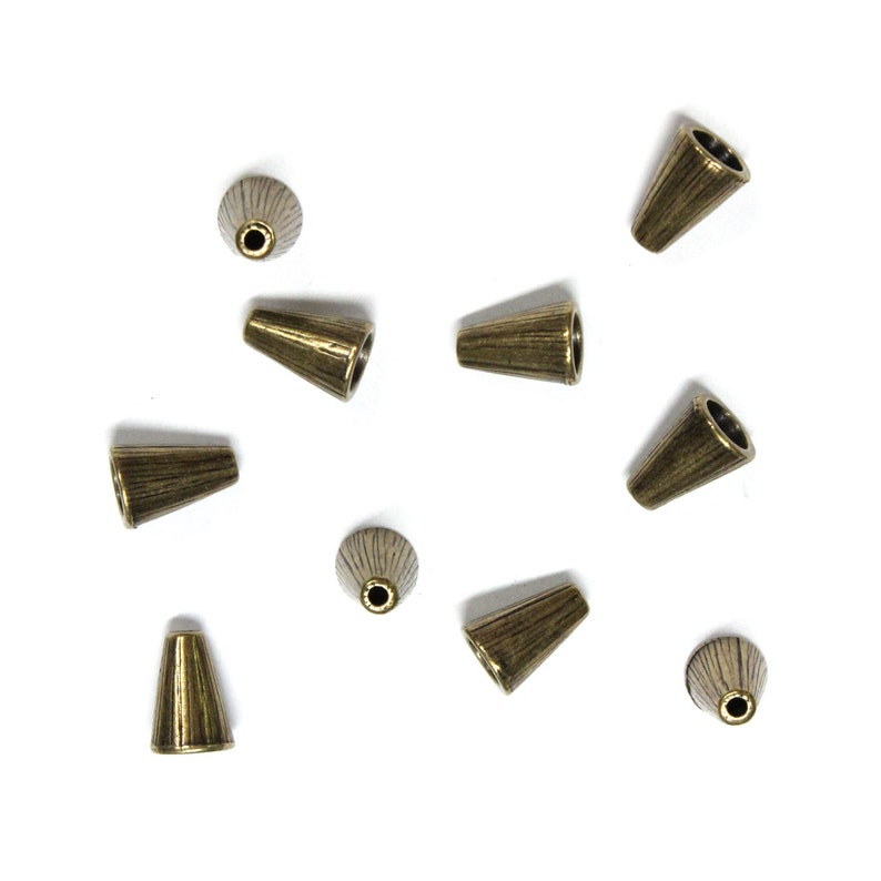 TierraCast Radiant Tall Cone  10 Pack  pewter with brass oxide finish  ends for kumihimo necklaces  94-5737-27