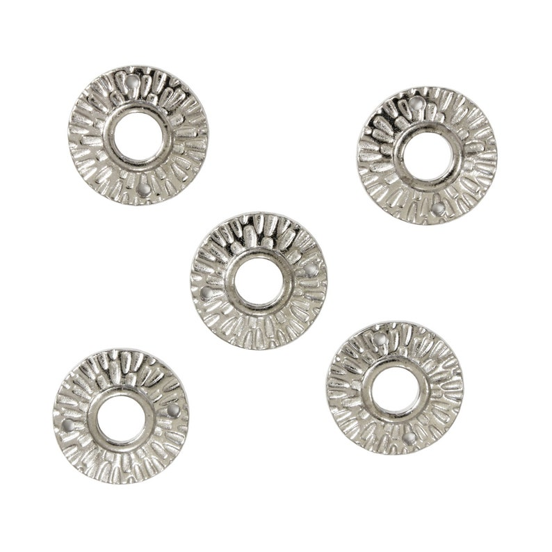 TierraCast Radiant Round Link  5 Pack  pewter with a bright rhodium finish  necklace 2 hole connector link  94-3110-61