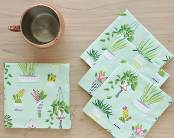 Plant Themed Cocktail Cloth Napkins in Mint Green