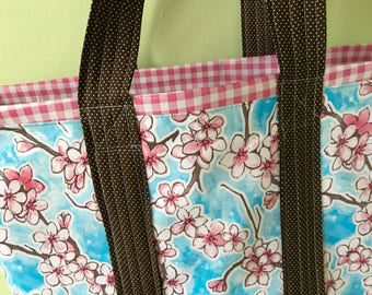Large cherry blossom reversible  floral oilcloth tote bag on sky blue