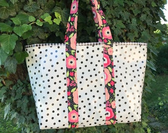 Large black polka dot retro  oilcloth tote bag