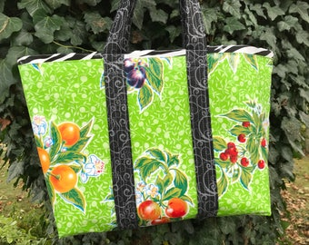 Funky fruit and zebra---. large retro oilcloth tote bag