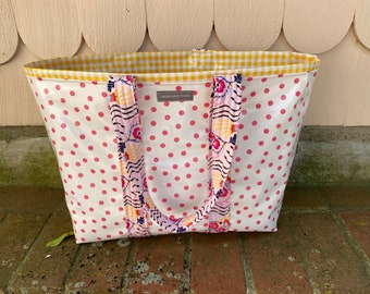 Sweet retro pink polka dot reversible oilcloth tote bag
