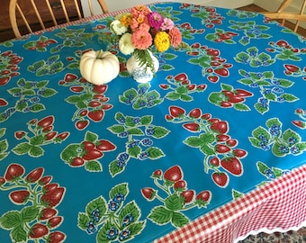 June in Ct---retro strawberry tablecloth on blue