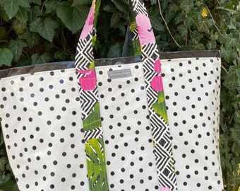 Retro black polka dot oilcloth tote bag