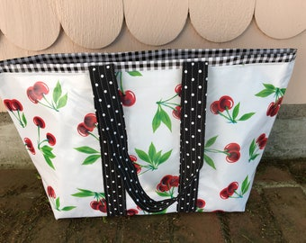 Large retro oilcloth tote bag with cherries on white and black gingham