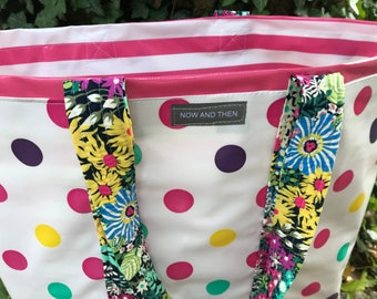 Party Central---multi-color polka dot and stripe oilcloth tote bag