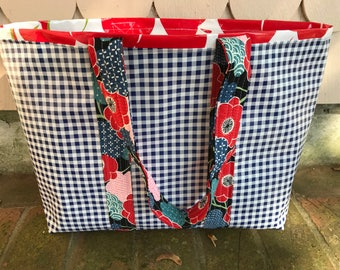 Navy gingham---large reversible oilcloth tote