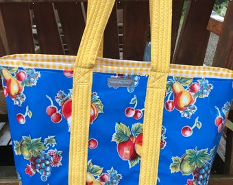 Easy pickins (blue )--- large reversible oilcloth tote bag