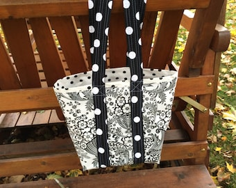 Small retro oilcloth tote bag for children and adults in black and white