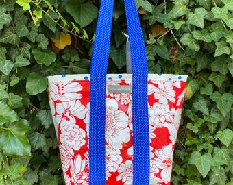Small red white and blue retro oilcloth tote bag for children and adults