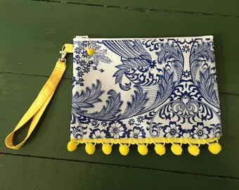 Monet blue and  yellow oilcloth wristlet