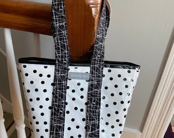 Small retro Black polka dot and black stripe oilcloth tote bag for children and adults